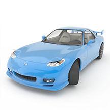 蓝色mazdax7跑车模型