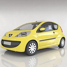 东风标致黄色汽车模型