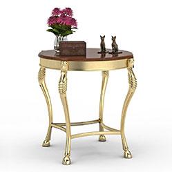 欧式金色圆形边桌模型