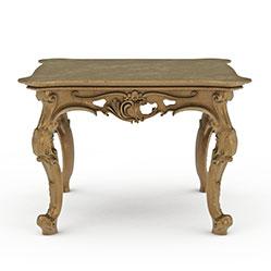 欧式雕花台桌方桌模型