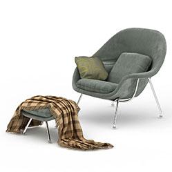 现代休闲布艺椅子模型