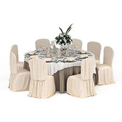 现代简约餐厅桌椅模型
