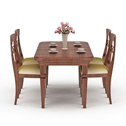 红木家居餐厅桌椅模型