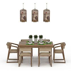 中式餐厅桌椅组合模型