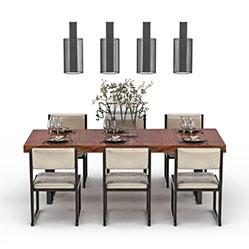 现代家居餐厅桌椅模型