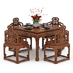 中式实木雕花桌椅模型