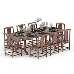 实木长餐桌椅子3d模型