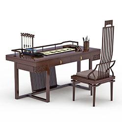 中式书房实木桌椅模型