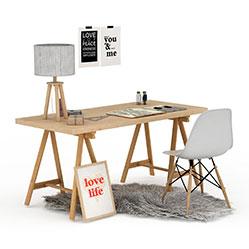 现代感北欧办公桌椅模型