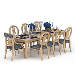 实木多人餐桌椅3d模型