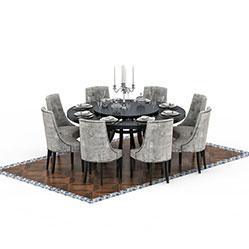 现代简约圆形餐桌椅模型