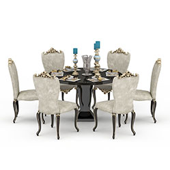 现代欧式餐厅桌椅模型
