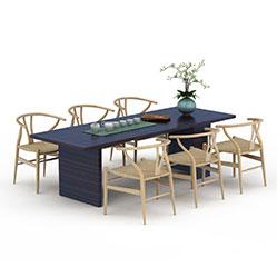 现代多人长餐桌椅模型