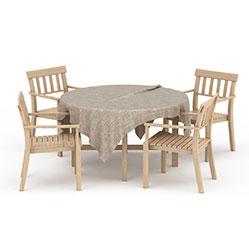 原木田园风餐桌椅模型