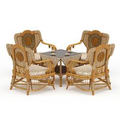 中式休闲会客桌椅模型