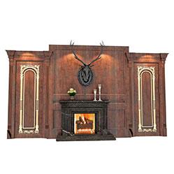 欧式电子壁炉背景墙模型