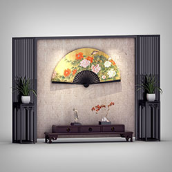 中式电视背景墙3d模型