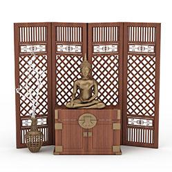中式实木玄关隔断模型