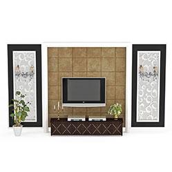 现代客厅雕花电视墙模型