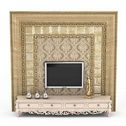 欧式装饰电视背景墙模型