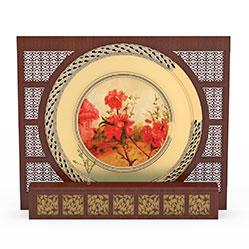 中式壁画背景墙3d模型