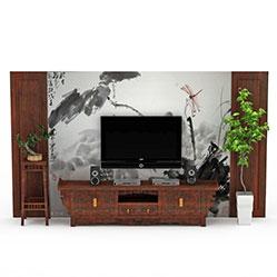 中式水墨画背景墙模型