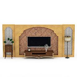 东南亚电视背景墙模型