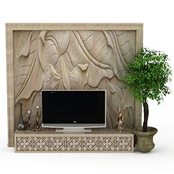 现代浮雕电视墙3d模型