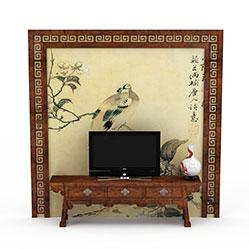 实木雕花水彩画背景墙