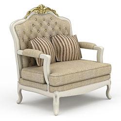 欧式灰色布艺沙发模型