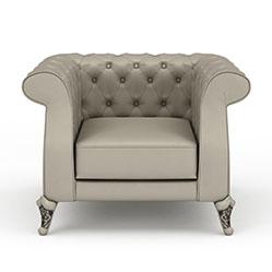 欧式皮革单人沙发3d模型