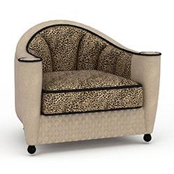 豹纹布艺单人沙发模型