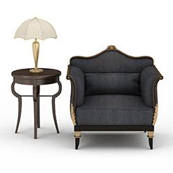 现代客厅布艺沙发模型