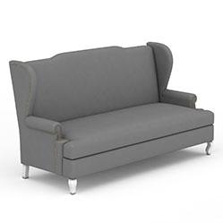 灰色简约多人沙发模型