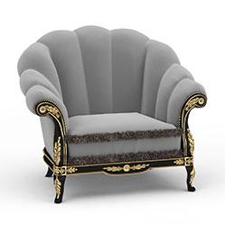 时尚欧式单人沙发模型
