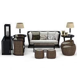编织沙发椅茶几组合模型