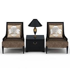 美式皮艺沙发边几3d模型