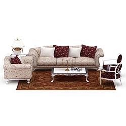 中式碎花沙发茶几3d模型