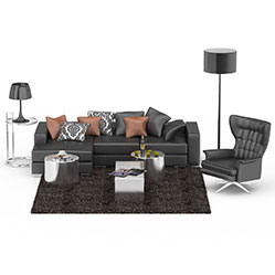 真皮组合沙发茶几3d模型
