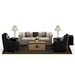 客厅皮艺沙发茶几组合模型