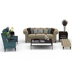 简欧沙发茶几组合3d模型