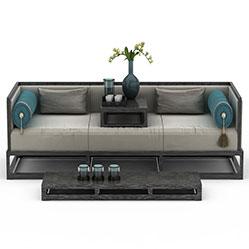 现代中式沙发榻茶几模型