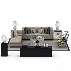 拼接布艺沙发茶几3d模型