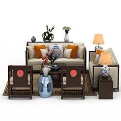 简易沙发茶几组合3d模型