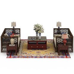 复古实木雕花沙发茶几模型