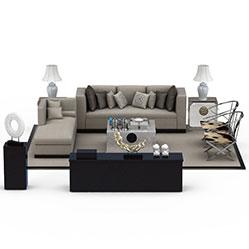 灰色现代布艺沙发茶几模型