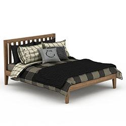 现代实木双人床3d模型