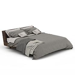欧式简约实木双人床模型