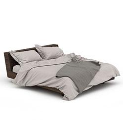 卧室简约实木床3d模型