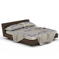 板式简约硬板床3d模型